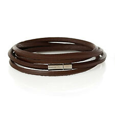 "Cowhide Leather Bracelet Coffee Cord End Clasp 79cm(31 1/8"") long"
