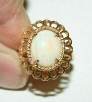 Antique 2.00CT Oval Cut Fire Opal 14K Yellow Gold Over Anniversary Wedding Ring