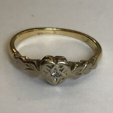 Vintage Solid 18ct Yellow Gold Solitaire Heart Diamond Ring Illusion Size L 1966