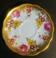 FOLEY CHINA - PRE - SHELLEY - P# 2726 GOLDEN PINK ROSES - SAUCER ONLY - EUC