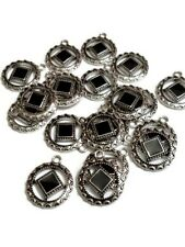 10 Pc NA Black Enamel Antique Silver Pendant Charms - Narcotics Anonymous