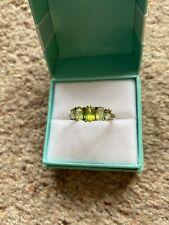 Vintage 10k white gold & Peridot 5 stone Ring