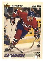 JOHN LeCLAIR 1991-92 Upper Deck Rookie #345 RC Montreal Canadiens NHL