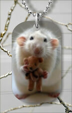 Tag Pendant Necklace Free Chain -dhr5Z Rat And His Teddy Bear Dog