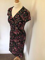 Joe Browns Dress UK 10 Black Floral Faux Wrap Stretch Knee Length V Neck Ditzy
