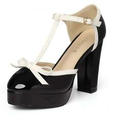 Women's Bow T-Strap Chunky Heel Platform Patent Pumps Shoes US 7.5 Black White