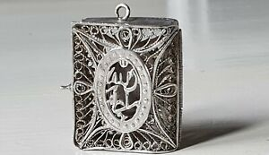 Small Antique silver filigree box with Islamic text, for Koran