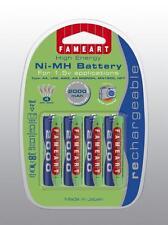 Batterie Ricaricabili Fameart AA20B4 4x AA R6 2000mAh Lunga Durata Pacco da 4
