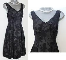 MONSOON Black Silk Betty Blend V Neck Prom Bridesmaid Cocktail Dress size 8 EU36