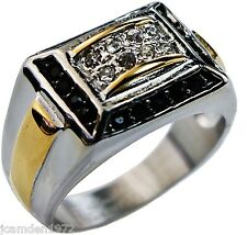 Black Onyx w/cz Men's ring 316L gold overlay stainless steel size 10
