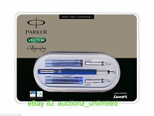 Parker Vector Calligraphy CT Fountain Pen Set (Blue) with nibs & blue, black ink
