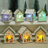 Christmas Ornaments Decorations Led Light Wood House For Home Hanging Xmas Gift