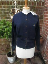 100% VIVIENNE WESTWOOD navy wool CARDIGAN with orb monogram logo button med bnwt