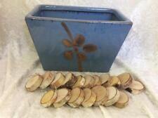 Clay Planter, Rectangular, Blue with Flower Design, 18 Birch Rounds
