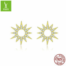925 Sterling Silver Stud Earrings Shining Sun With Gold Plated Fashion Jewelry
