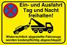 Einfahrt freihalten Schild 30 x 20 cm Hinweisschild Aluminium oder Hartschaum