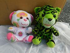 Lot Build-a-Bear Buddies Smallfrys Mini Green Leopard Cat Plush Pink Heart girl