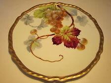 Antique B&H Limoges Hand Ptd. Artist Signed Grapes Decorated Porcelain Plate