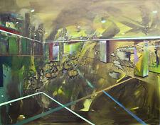 """ORIGINALE kaliya kalacheva """"Chiudi / Apri"""" 2015 ASTRATTO PAESAGGIO URBANO PITTURA"""