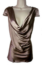 2b Rych Deep Champagne Silk Blend Draped Neckline Top Size 10