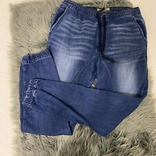Guess Los Angeles Womens Denim Joggers Draw String Size L Blue # 695