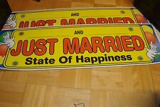 """WEDDING: 2 two large Just Married-Happiness * Plastic  37"""" x 11"""" Limo-Yard Signs"""