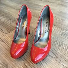 Kenneth Cole New York Womens Red Patent Leather Heels Pumps Shoes Size 7.5