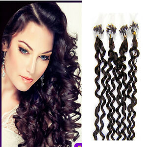 100S Silicone Micro Loop Ring Beads Link Remy Human Hair Extensions Curly 20inch