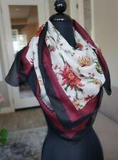 "NEW Chan Luu Red Floral 39"" Square Silk Wrap Shawl Scarf"