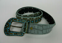 Belt M L Turquoise Blue Genuine Leather With Embellished Buckle And Top