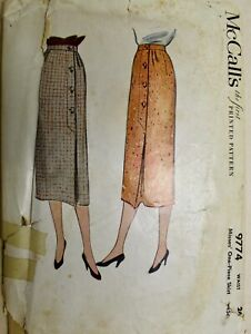 Vtg 1954 Sewing Pattern McCall's #9774 Womens 1pc Pencil Skirt Details Waist 26""