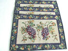 3 Printed Placemats Heavy Cotton Canvas Grape Cluster Vines Tapestry Set of 3 M