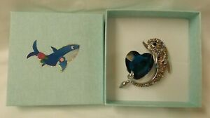 Dolphin with heart brooch with decorated gift box