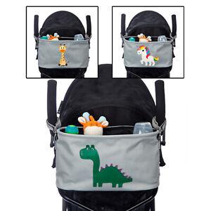 BTR Bucket Grey Buggy Organiser Pram Caddy Bag Dinosaur, Unicorn or Giraffe