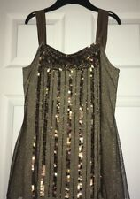 M&S Autograph Brown Gold Sequin Embroidered Vest Top - UK 12 ⭐️Stunning⭐️