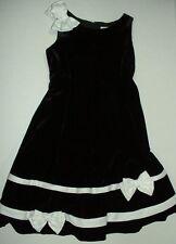 Rare Editions Black Velvet Sleeveless Lined Dress White Bows Skirt Shoulder 5Y
