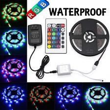 5M RGB 3528 Waterproof LED Strip light SMD 24 Key Remote 12V US Power Full Kit