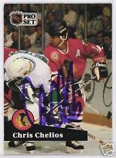 CHRIS CHELIOS 1991 PRO SET CHICAGO BLACKHAWKS AUTOGRAPHED HOCKEY CARD JSA