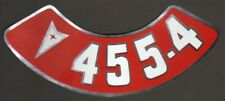 Pontiac 455-4V Air Cleaner Decal, Red & White on Silver