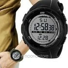 Men Orologio da polso da militare Waterproof digitale LCD Sport gomma Date Watch