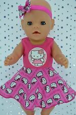 "Play n Wear Doll Clothes To Fit 17"" Baby Born HOT PINK CIRCLE DRESS~HEADBAND"