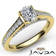 Shiny Cushion Diamond Pave Set Engagement Ring GIA E VVS2 18k Yellow Gold 1.46Ct