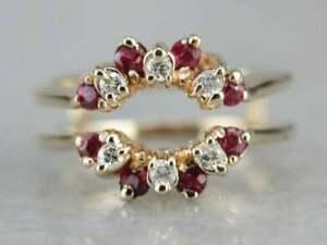 0.50 Ct Round Cut Ruby & Diamond Enhancer Wrap Wedding Ring 14k Yellow Gold Over