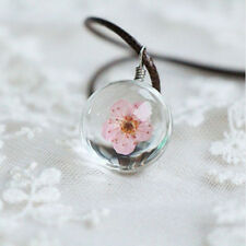 Strip Jewelry Crystal Necklace Glass Ball Dried Flower Pendant Peach Blossom