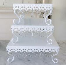 Set of 3 White Square Cupcake Wedding Decoraton Cake Christmas Display Stands