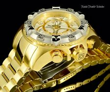 Invicta 52MM Excursion White Dial Silver Bezel Chronograph Gold Tone SS Watch
