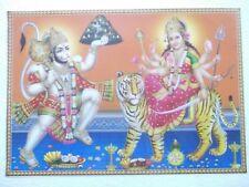"HANUMAN SHERAWALI DURGA Poster Hindu God Dev unique sacred 16""11"""
