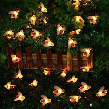 30 LED Solar String Honey Bee Shape Warm Light Garden Decoration Waterproof