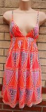 H&M ORANGE WHITE PINK TRIBAL TRAPPY CHIFFON SILKY FEEL A LINE SMOCK DRESS 12 M