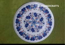 2' white marble table top coffee dining inlay lapis mosaic home decor